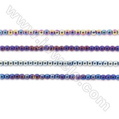 Various Color Plating Hematite Beads Strand, Round, Diameter 2mm, hole 1mm, about 200 beads/strand, 15~16""