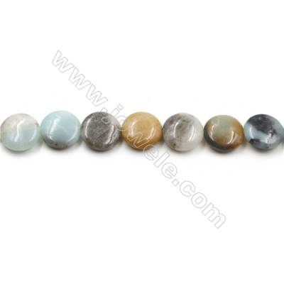 "Natural Black Amazonite Gemstone Bead Strand, Flat Round, Diameter 15mm, Hole 0.7mm, 15~16""/strand"