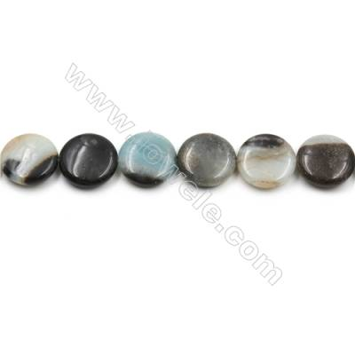"Natural Black Amazonite Gemstone Bead Strand, Flat Round, Diameter 20mm, Hole 0.7mm, 15~16""/strand"