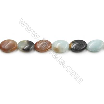 "Natural Black Amazonite Gemstone Bead Strand, Flat Oval, Size 13x18mm, Hole 0.7mm, 15~16""/strand"