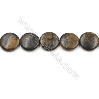 "Natural Artistic Jasper Beads Strand, Flat Round, Diameter 30mm, Hole 0.7mm, 15~16""/strand"