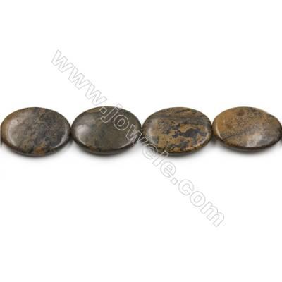 "Natural Artistic Jasper Beads Strand, Flat Oval, Size 30x40mm, Hole 0.7mm, 15~16""/strand"