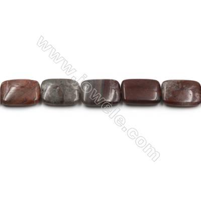 "Natural Dark Red Fancy Fantasy Jasper Beads Strand, Rectangle, Size 18x25mm, Hole 0.7mm, 15~16""/strand"