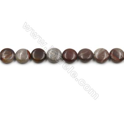 "Natural Dark Red Fancy Fantasy Jasper Beads Strand, Flat Round, Diameter 15mm, Hole 0.7mm, 15~16""/strand"