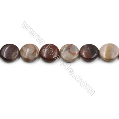 "Natural Dark Red Fancy Fantasy Jasper Beads Strand, Flat Round, Diameter 20mm, Hole 0.7mm, 15~16""/strand"
