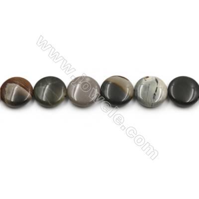 "Natural Polychrome Jasper Beads Strand, Flat Round, Size 15mm, Hole 0.7mm, 15~16""/strand"