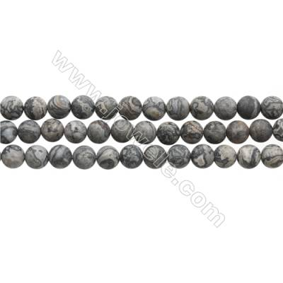 """Matte Silver Crazy Agate Beads Strand, Round, Diameter 8mm, Hole 0.7mm, 15~16""""/strand"""