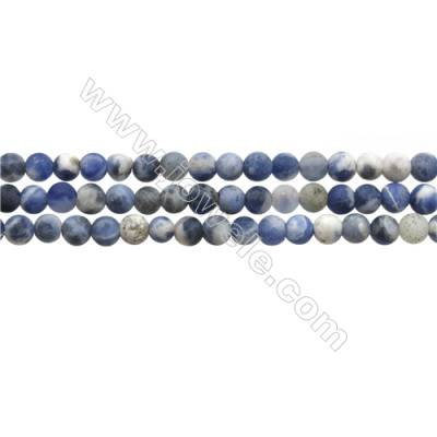 "Matte Sodalite Beads Strand, Blue & White, Round, Diameter 4mm, Hole 0.7mm, 15~16""/strand"