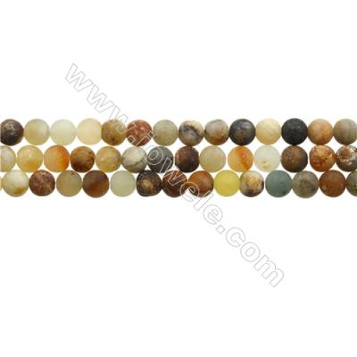 "Matte Flower Jade Beads Strand, Round, Diameter 6mm, Hole 0.7mm, 15~16""/strand"