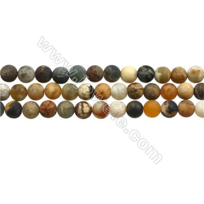 "Matte Flower Jade Beads Strand, Round, Diameter 8mm, Hole 0.7mm, 15~16""/strand"