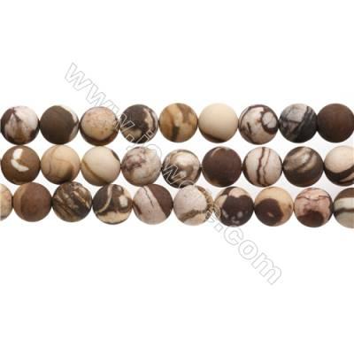 """Brauner Zebra-Jaspis runde gefrostet Perlenkette  Durchmesser 10mm Durchmesser des Loch 0.7mm  15~16"""" / Strang"""
