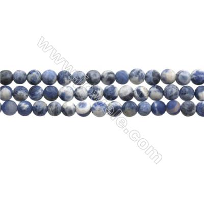 "Matte Sodalite Beads Strand, Blue & White, Round, Diameter 6mm, Hole 0.7mm, 15~16""/strand"