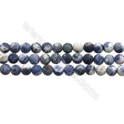 "Matte Sodalite Beads Strand, Blue & White, Round, Diameter 8mm, Hole 0.7mm, 15~16""/strand"