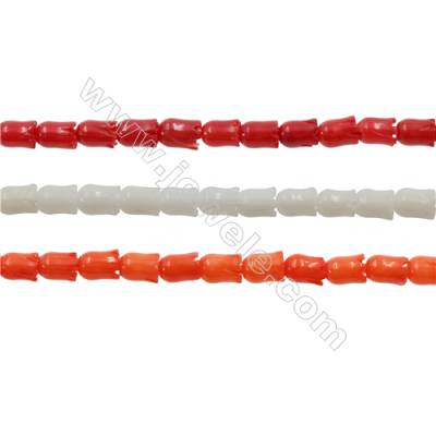 Various Colors Coral Flower Beads Strands, Dyed, Size 4x5mm, Hole 0.7mm, about 80 pcs/strand 15~16""