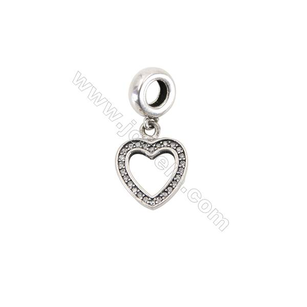 Sterling Silver Zircon Micropave European Beads, x 1 Piece, Hollow Heart, Size: 12x15mm