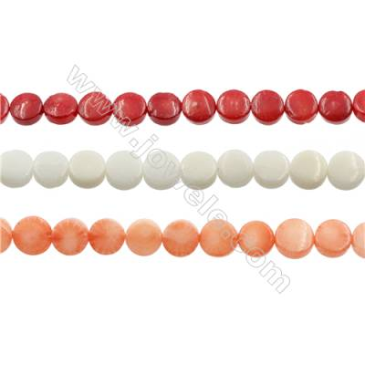 Various Colors Coral Flat Round Beads Strands, Dyed, Size 4x6mm, Hole 0.7mm, about 68 pcs/strand 15~16""