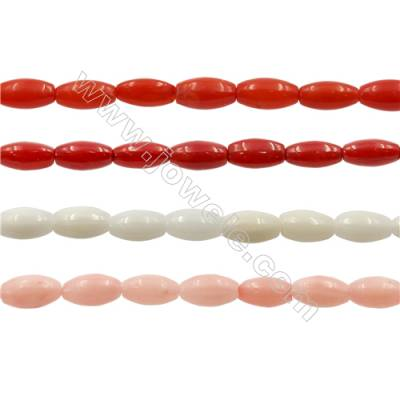 Various Colors Coral Rice Beads Strands, Dyed, Size 3x6mm, Hole 0.7mm, about 63 pcs/strand 15~16""
