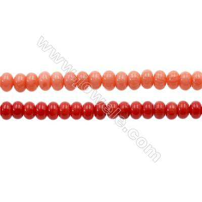 Various Colors Coral Abacus Beads Strands, Dyed, Size 3x5mm, Hole 0.7mm, about 120 pcs/strand 15~16""