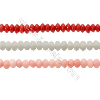 Various Colors Coral Abacus Beads Strands, Dyed, Size 2x3mm, Hole 0.7mm, about 200 pcs/strand 15~16""
