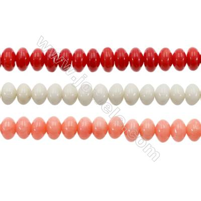 Various Colors Coral Abacus Beads Strands, Dyed, Size 4x6mm, Hole 0.7mm, about 113 pcs/strand 15~16""