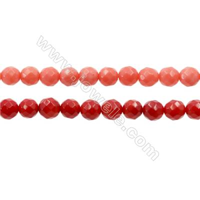 Various Colors Coral Beads Strands Faceted Round, Dyed, Diameter 6mm, Hole 1mm, about 66 pcs/strand 15~16""