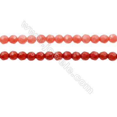Faceted Coral Round Beads Strands, Dyed, Diameter 4mm, Hole 0.7mm, about 100 pcs/strand 15~16""