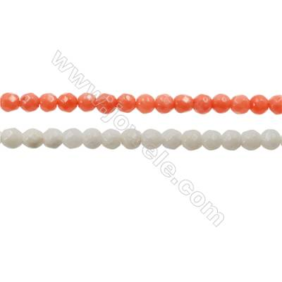 Faceted Coral Round Beads Strands, Dyed, Diameter 3mm, Hole 0.6mm, about 130 pcs/strand 15~16""