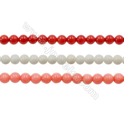 Various Colors Coral Round Beads Strands, Dyed, Diameter 4mm, Hole 0.7mm, about 100 pcs/strand 15~16""