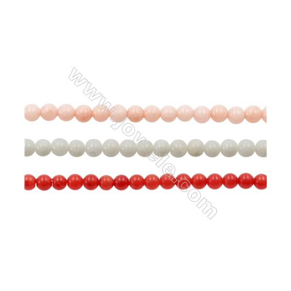 """Various Colors Coral Round Beads Strands, Dyed, Diameter 3mm, Hole 0.7mm, about 138 pcs/strand 15~16"""""""