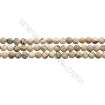 "Matte African Opal Beads Strand, Round, Diameter 6mm, Hole 0.7mm, 15~16""/strand"