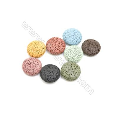 20mm Multicolored Lava Rock Loose Beads, Flat Round, 150pcs/pack