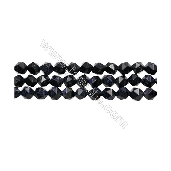 """Blue Sandstone Beads Strand, Star Cut Faceted, Size 8x8mm, Hole 1mm, 15~16"""" x 1 strand"""