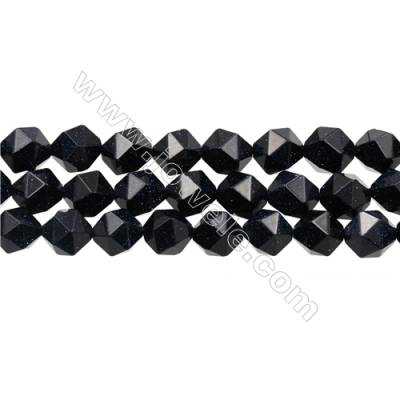 "Blue Sandstone Beads Strand, Star Cut Faceted, Size 12x12mm, Hole 1mm, 15~16""/ strand"