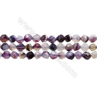 "Natural Purple Striped Agate Beads Strands, Star Cut Faceted, Size 6x6mm, Hole 1mm, 15~16""/strand"