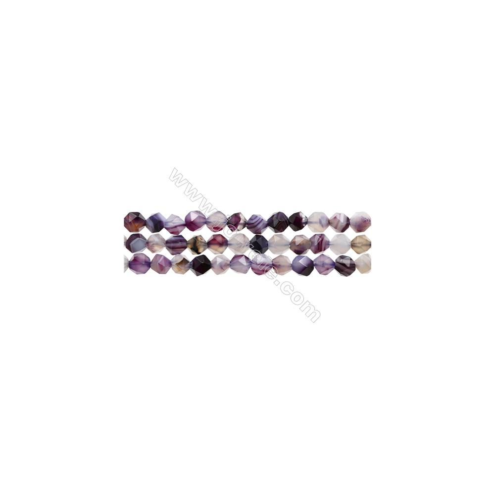 """Natural Purple Striped Agate Beads Strands, Star Cut Faceted, Size 6x6mm, Hole 1mm, 15~16""""/strand"""