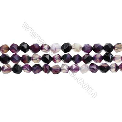 "Natural Purple Striped Agate Beads Strands, Star Cut Faceted, Size 8x8mm, Hole 1mm, 15~16""/strand"