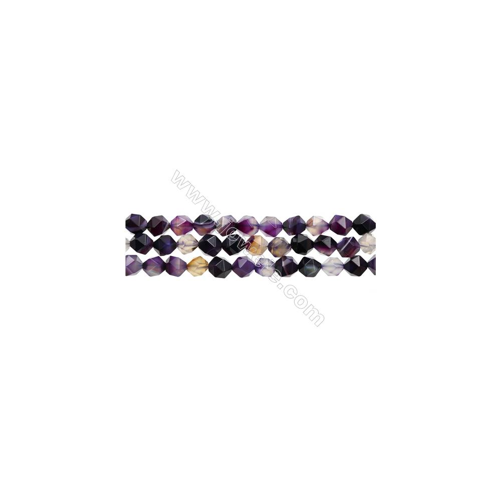 "Natural Purple Striped Agate Beads Strands, Star Cut Faceted, Size 10x10mm, Hole 1mm, 15~16""/strand"