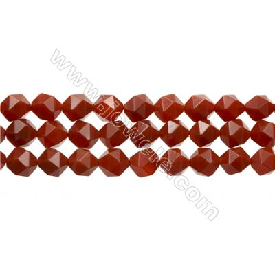 "Natural Red Agate Beads Strands, Star Cut Faceted, Size 10mm, Hole 1mm, 15~16""/strand"