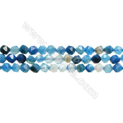 "Natural Striped Agate Beads Strands, Star Cut Faceted, Blue, Size 8mm, Hole 1mm, 15~16""/strand"