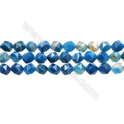 "Natural Striped Agate Beads Strands, Star Cut Faceted, Blue, Size 10mm, Hole 1mm, 15~16""/strand"