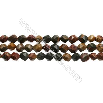 "Natural Red Creek Jasper Beads Strands, Star Cut Faceted, Size 6x6mm, Hole 1mm, 15~16""/strand"