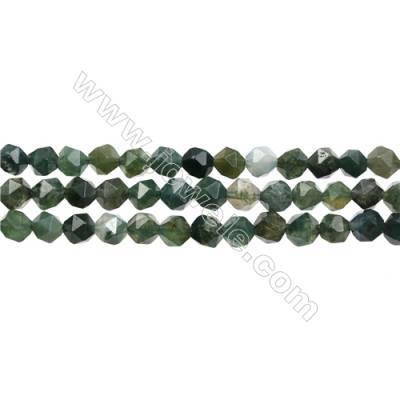 "Natural Moss Agate Bead Strands, Star Cut Faceted, Size 6x6mm, Hole 1mm, 15~16""/strand"