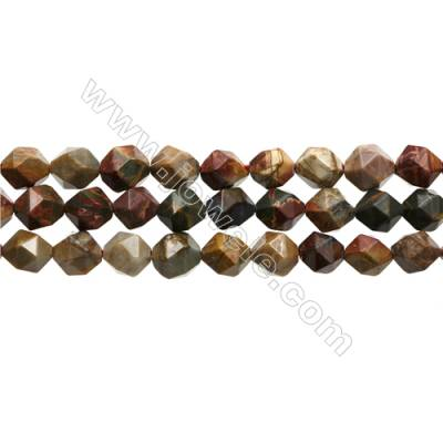 "Natural Red Creek Jasper Beads Strands, Star Cut Faceted, Size 10x10mm, Hole 1mm, 15~16""/strand"