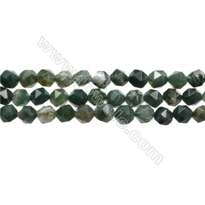 "Natural Moss Agate Bead Strands, Star Cut Faceted, Size 8x8mm, hole 0.8mm, 15~16""/strand"
