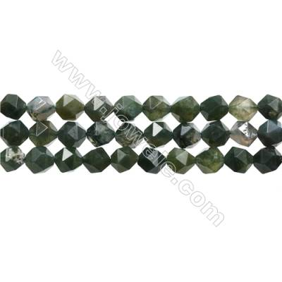 "Natural Moss Agate Bead Strands, Star Cut Faceted, Size 10x10mm, Hole 1mm, 15~16""/strand"