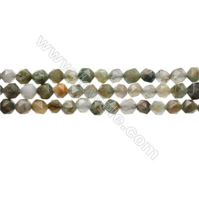 """Green Flower Chrysoprase Beads Strands, Star Cut Faceted, Size 6x6mm, Hole 0.8mm, 15~16""""/strand"""