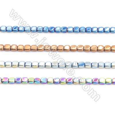 Blue Plated Hematite Beads Strand  Flat Square  Size: 3x3mm  Hole 0.8mm  about 133 beads/strand 15~16""