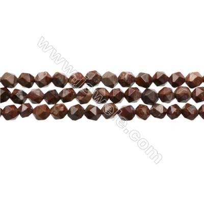 "Natural Red Pomergranite Jasper Beads Strands, Star Cut Faceted, Size 6x6mm, Hole 0.8mm, 15~16""/strand"