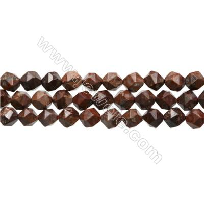 "Natural Red Pomergranite Jasper Beads Strands, Star Cut Faceted, Size 8x8mm, Hole 0.8mm, 15~16""/strand"