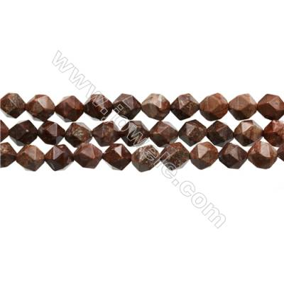 "Natural Red Pomergranite Jasper Beads Strands, Star Cut Faceted, Size 10x10mm, Hole 0.8mm, 15~16""/strand"